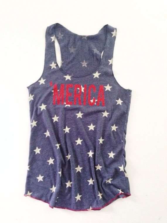 Merica Tank Top //Stars Tank Top // American Flag Clothing Red Glitter Merica Tank Top Stars and Stripes $28.00 USD