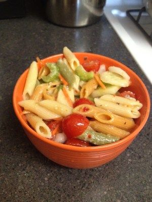 Perfect summer recipe!! Pasta SaladIngredients: 1 (16 ounce) package uncooked tri-color spiral pasta 1/2 cup thinly sliced carrots 2 stalks celery, chopped 1/2 cup chopped, green bell pepper 1/2 u...