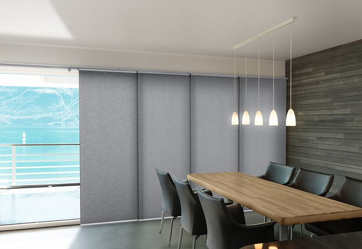Luxaflex Panel Glide is comprised of a series of smooth fabric panels that glide effortlessly sideways on a simple track mechanism, making them light and easy to operate. Perfect for a large window, door or as a room divider. #luxaflexaus #panelglide #windowfashions #windowcovering #sale #midyearsale