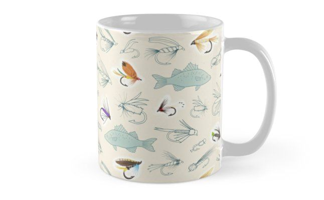 Fishing Flies Mug; a repeating pattern created from my own hand drawings of fish and fishing flies. Made using a combination of pen, pencil and digital art. Design by Hazel Fisher Creations. • Also buy this artwork on home decor, apparel, phone cases, and more.