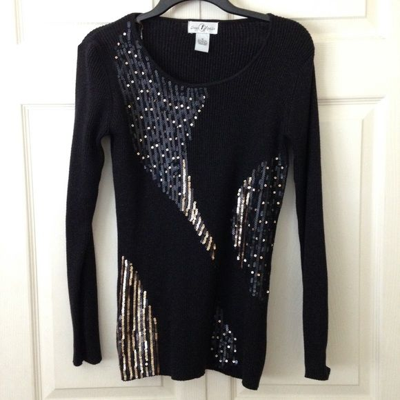 Gorgeous Black Sequin Sweater like new; black glitter sweater with black and gold sequin design; glitzy and pretty! Once Again Sweaters Crew & Scoop Necks