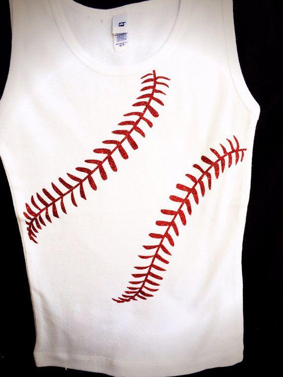 Rhinestone glitter baseball stitches bling Shirt | Shirts ...