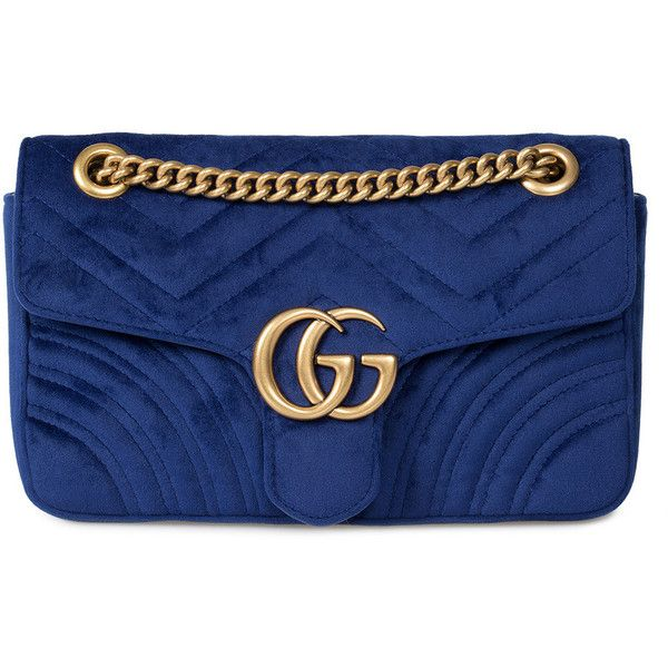 99491fbf4db9 Gucci Marmont Velvet Shoulder Bag in Royal Blue ($1,495) ❤ liked on  Polyvore featuring bags, handbags, shoulder bags, blue, new arrivals, royal  blue purse, ...