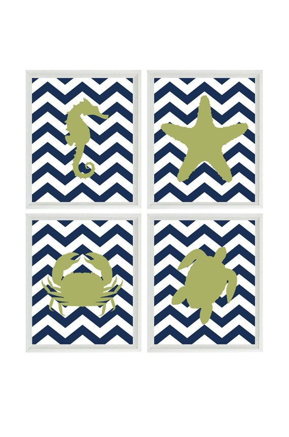 Beach Nursery Chevron Art Print Set  Navy Blue by RizzleandRugee