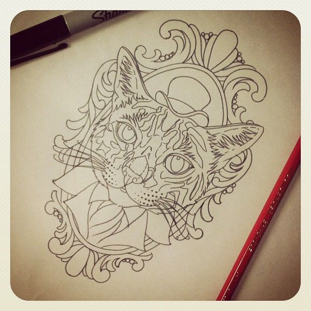 Fancy Cat. Artist: Megan Massacre of NY Ink/ America's Worst Tattoo on TLC
