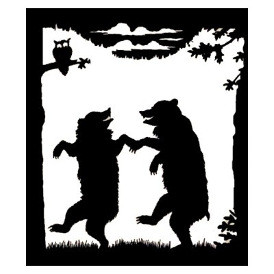 rlv.zcache.co.uk/...: Vintage Dance, Posts Cards, Silhouette Posts, Black Silhouette, Bears Black, Trees Owl, Dance Bears, Stuff Sold, Silhouette Trees