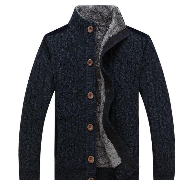 AFS JEEP / Battlefield Jeep 2016 warm thick velvet cardigan sweater men's winter jacket Men stand collar loose sweater 160