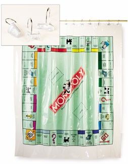 Game Curtains | MOnopoly Vinyl Shower Curtain In Game Board Design | Trade  Show | Pinterest | Vinyl Shower Curtains