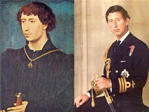 THE UNCANNY RESEMBLANCE OF CHARLES THE BOLD - DUKE OF BURGUNDY 1433-1477 AND HIS ROYAL DESCENDANT - HRH, CHARLES, PRINCE OF WALES. IT IS REMARKABLE !