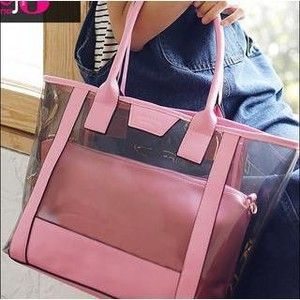 Transparent Tote with Pouch featuring polyvore fashion bags handbags tote bags accessories transparent purse see through purse pouch purse transparent tote bag champagne purse