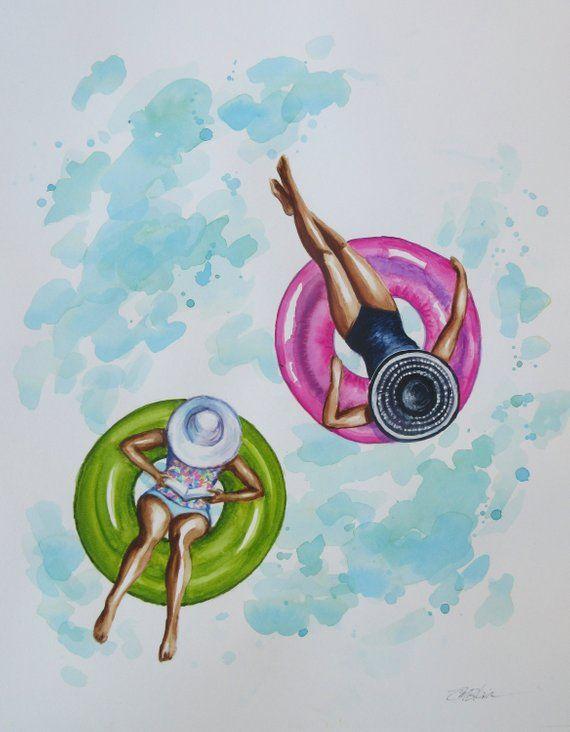 Original Watercolor Beach Decor Pool Floats Figures Woman