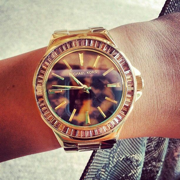 The leopard print of mk watch,   Michael kors watch ...