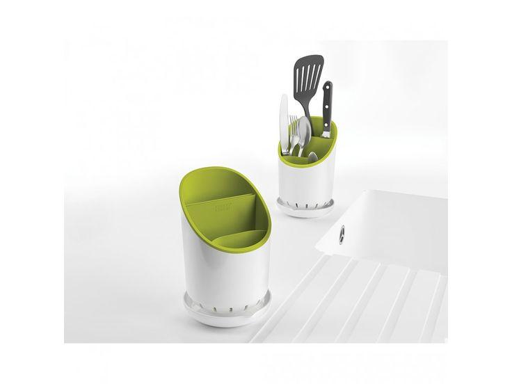 Odkapávací stojánek na příbory, nože a nástroje JOSEPH JOSEPH Dock™ | bílý/zelený. Stojánek umožňuje bezpečně oddělit…