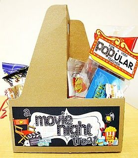 movie night gift package from soda holder