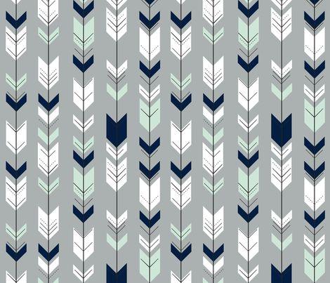 Fletching Arrow // Northern Lights - Grey fabric by littlearrowdesign on Spoonflower - custom fabric