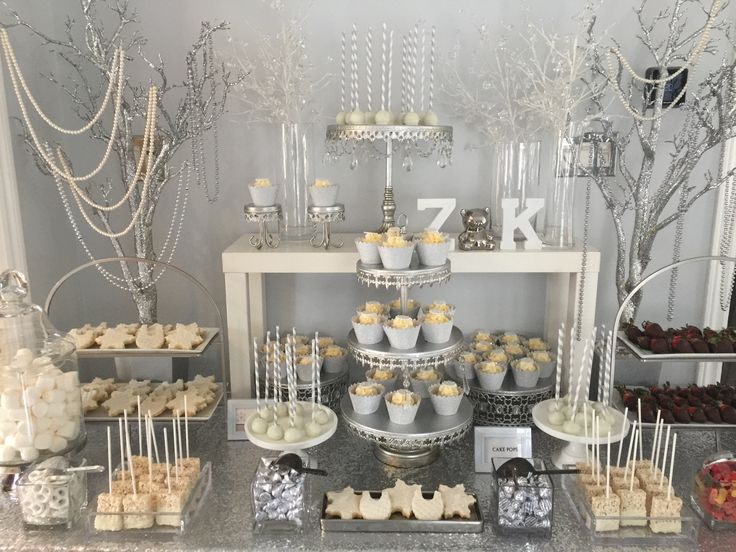 Winter wonderland sweet candy bar silver and white theme