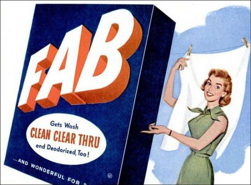 Fab laundry detergent advertisement, 1958.