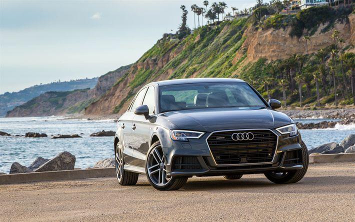 Descargar fondos de pantalla Audi A3 Sedán, 2017, Negro A3, los coches alemanes, el Audi