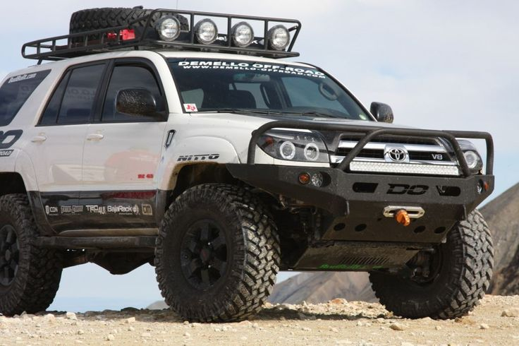 DeMello Off-Road's 2003-2009 4runner bumper is made with mild steal and designed to offer high clearance and maximum strength while maintaining a light weight option for the front of your 03-05 4runner.   DeMello Off Road bumpers are made with a 1/4in winch plate and bumper frame wrapped in 1/8in steal skin providing strength and durability at a lower weight than many competitors.