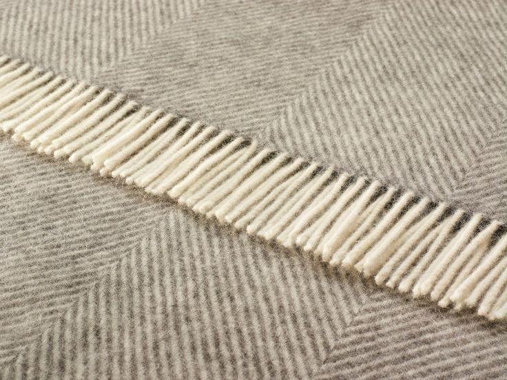 Wool Throw Blanket by Bronte - Natural Un-Dyed Wool - Herringbone (Gray)