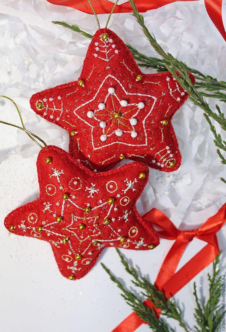 """Купить Игрушка из фетра, елочное украшение """"Рождественские звезды"""" - новогодний подарок, новогодний сувенир"""