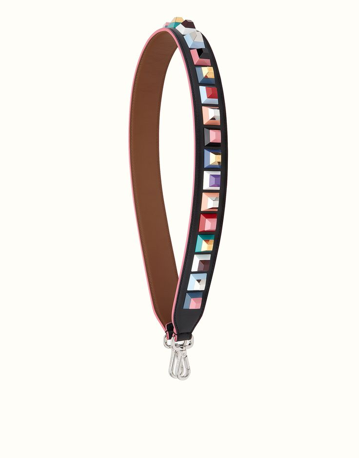 FENDI STRAP YOU - Interchangeable black leather strap with studs