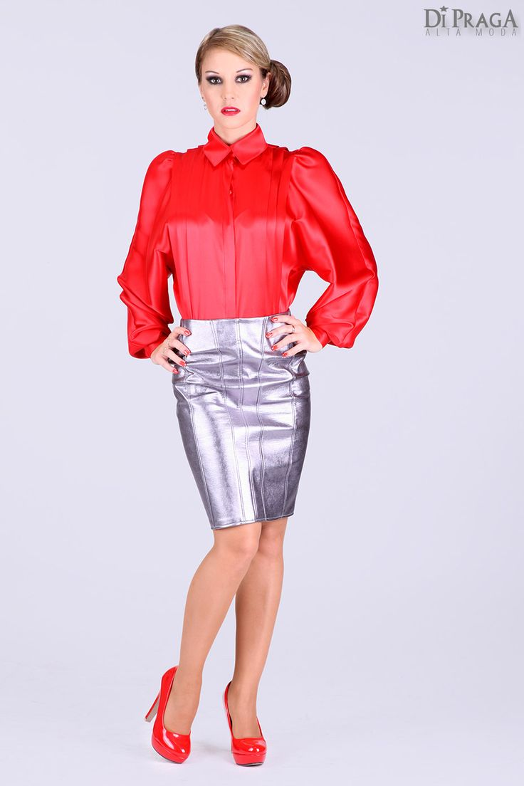 BB5 Satin Blouse with pleated front and back