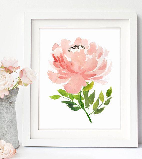 Pink Peony Wall Art Pink Peony Watercolor Peony Art Pink Etsy In 2020 Watercolor Peonies Peony Art Flower Painting