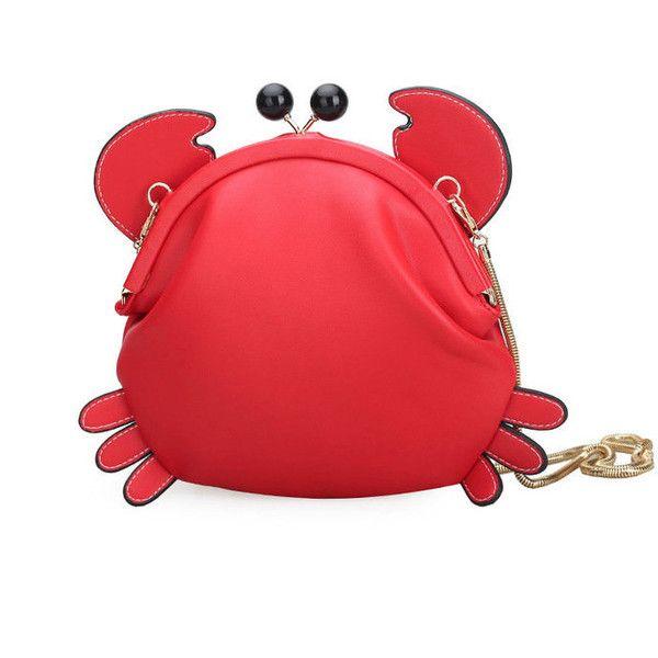 Woman Crab Cute Crossbody Bag Shoulder Bag Girls Storage Bag (5.801 KWD) ❤ liked on Polyvore featuring bags, handbags and shoulder bags