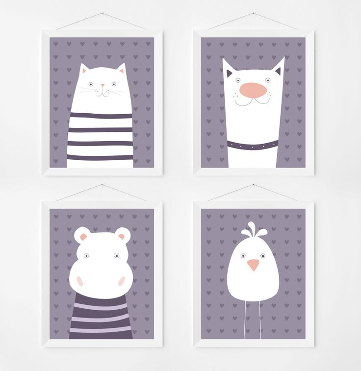 Poster print wall art set with cute animal illustrations. Kids & nursery art deco. Set of 4 prints for intant download. by PenguinGraphics on Etsy