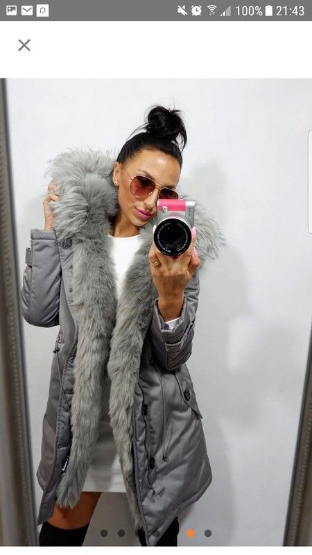 Faux fur trim grey parka coat new S/M