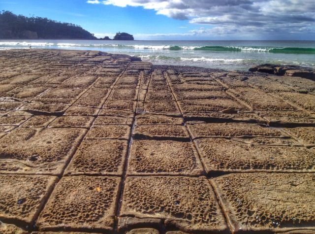 The amazing tessellated pavement at a beach in Tasmania. Follow our hunt and rescue mission at http://www.facebook.com/NothingButVintage and http://nothingbutvintage.com.au