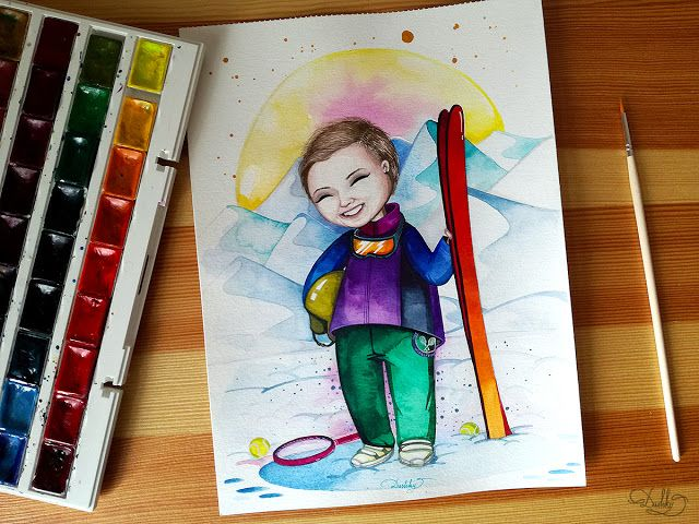 designed by #dushky / #art #illustration #painting #watercolor #portrait #winter #snow #skiing #girl