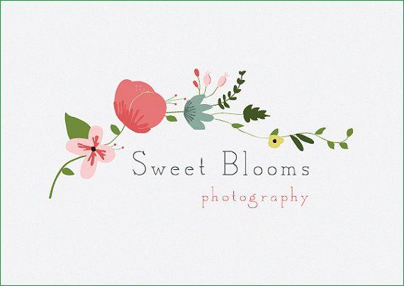 Sweet Blooms / Custom PreDesigned flower wing / pre-made modern colorful flower logo / premade flower wing photography logo design