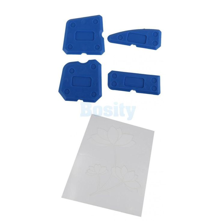 4Pcs Corner Sealant Remover Filler Smoother Finisher Cleaner + Wall Stencil