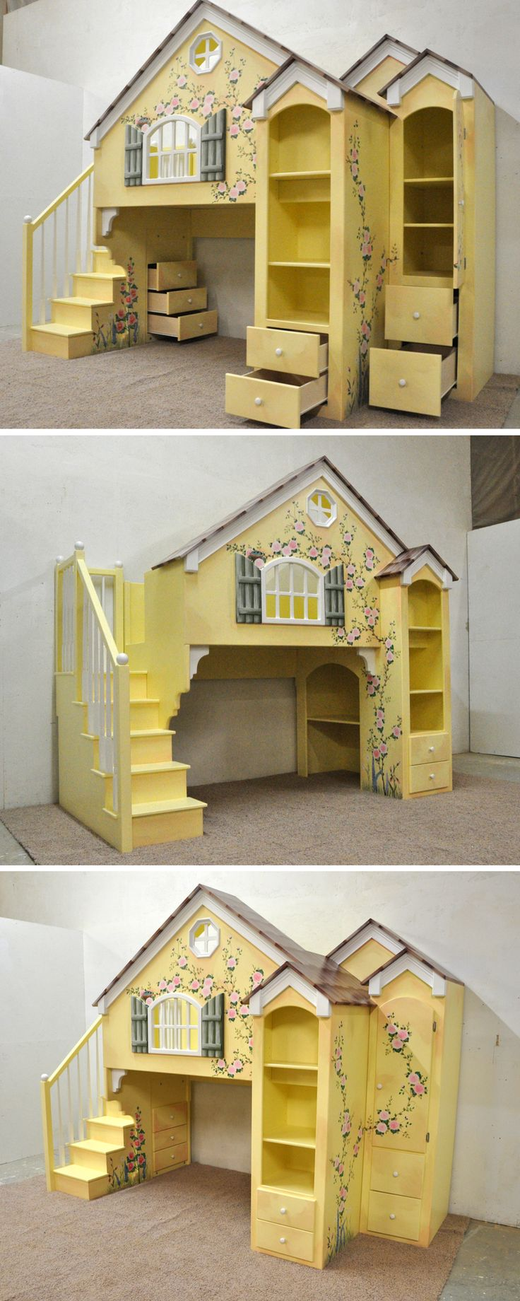 Our Dollhouse Loft Bed is by far our most popular design. And we love to make them exactly how you want it! Take this custom Dollhouse, for example. In addition to the custom hand painting, we added tons of custom storage space, two extra gables, and a full desk in the lower bunk. Click to see more custom Dollhouse designs!