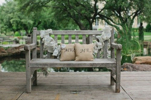 wedding bench. could be used as a guestbook idea.