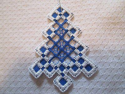 Ornamento del árbol Corte bordado noruego Hardanger trabajo