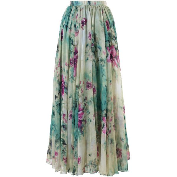 Maxi Falda con Estampado Floral (2.480 RUB) ❤ liked on Polyvore featuring skirts, maxi skirts, saias, long skirts, maxi skirt, polka dot skirt, long maxi skirts, green skirt and ankle length skirts