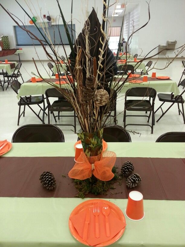 Deer hunter camo party Like the hunter safety orange accents