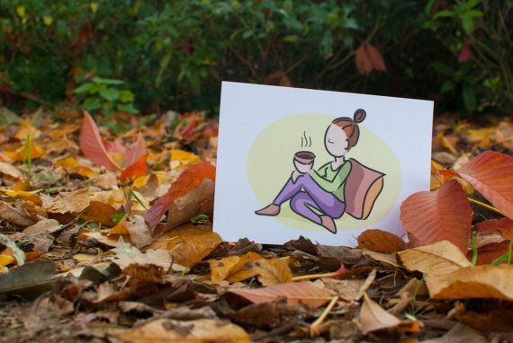 postcard in leaves #autum girl with tea