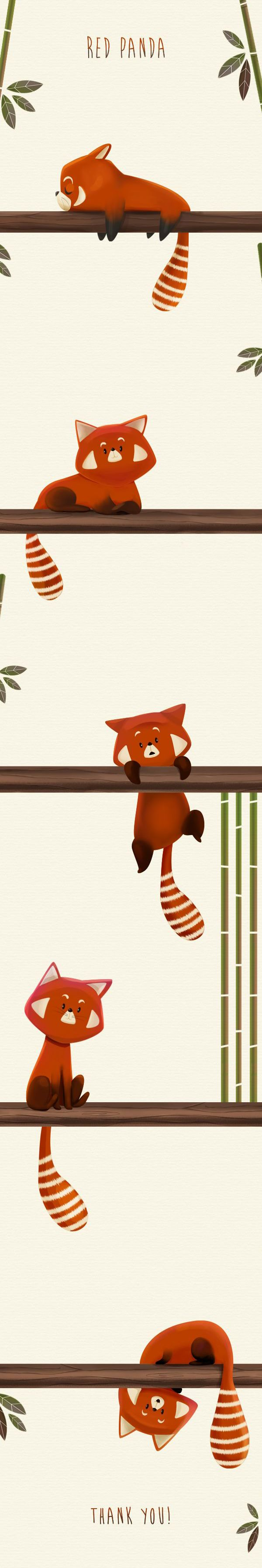 Red Panda - by Marta García Pérez... this would be an awesome arm band tattoo :)