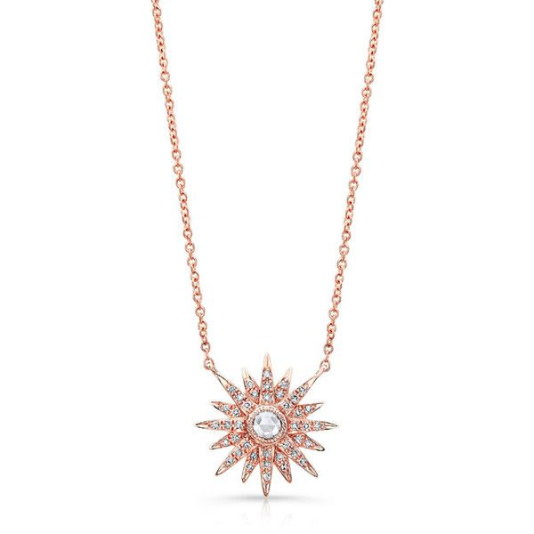 14KT Rose Gold Diamond Vintage Style Starburst Necklace ($950) ❤ liked on Polyvore featuring jewelry, necklaces, accessories, collares, star jewelry, diamond necklaces, adjustable necklace, star necklace and rose gold chain necklace