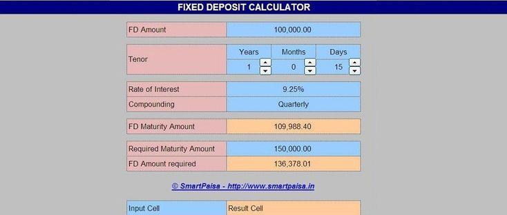 Fixed Deposit Maturity Value Calculator - EXCEL BASED FD MATURITY CALCULATOR