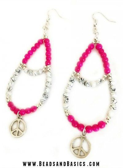 DIY tutorial -  pink peace festival earrings - Make your own with the materials and DIY Tutorials from www.beadsandbasics.com