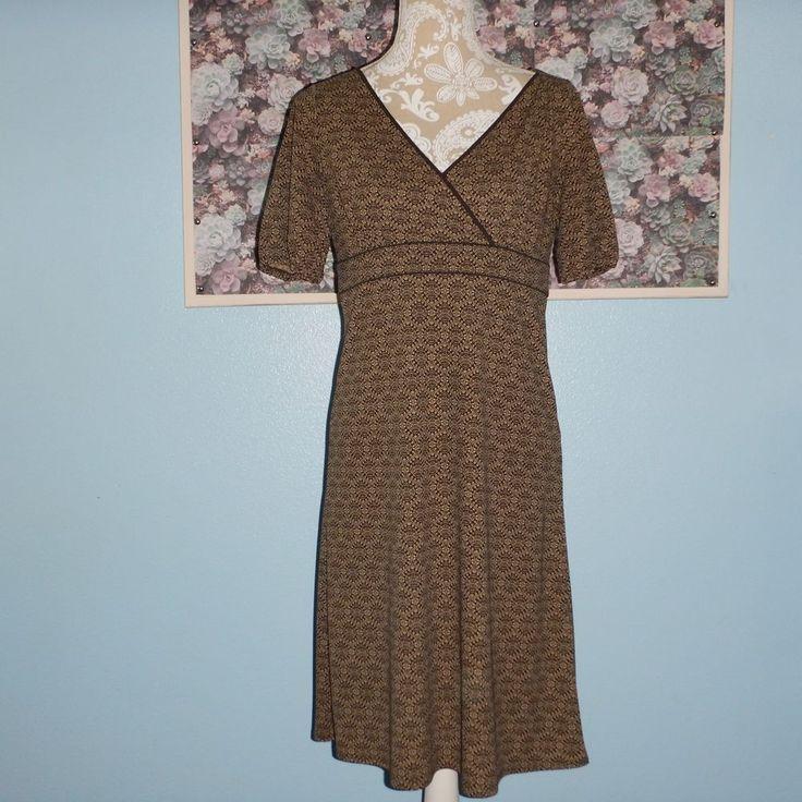 Ann Taylor Loft Womens Brown Beige Geometric Short Sleeve V Neck Dress Size 8P #AnnTaylorLOFT #EmpireWaistVNeck