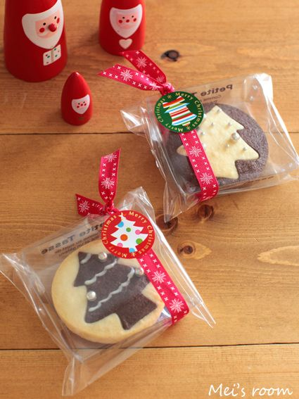 クリスマスのお菓子 クッキーの簡単ラッピング