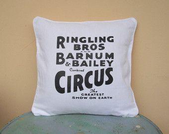 """Circus Sideshow white 16"""" x 16"""" throw pillow cover - typography pillow, decorative pillow, circus pillow, boho decor, black and white pillow"""
