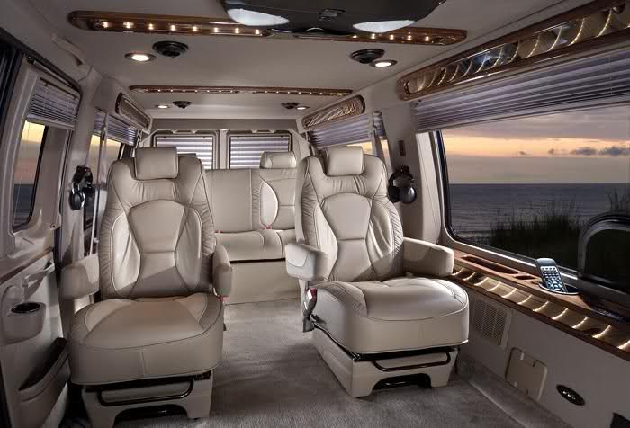 Conversion Van[/size]  A Conversion van can be a full-size cargo van that is sent to third-party companies to be outfitted with various luxuries for road trips and camping.  Conversion vans came into