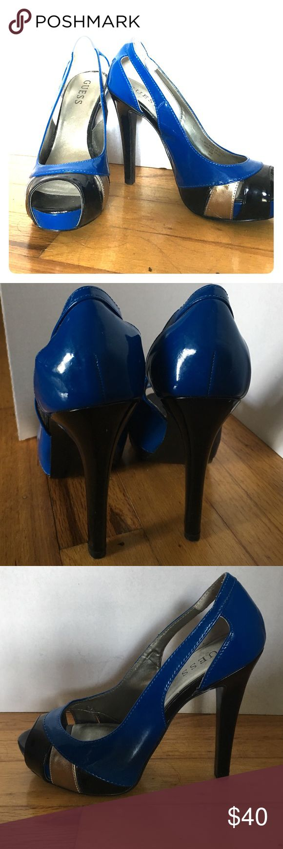 GUESS Blue/ Silver/ Black Stiletto Heels Cute and chic stiletto heels by GUESS. They are perfect for parties, weddings, dinners, and dances! They give you just the right amount of height so you aren't wobbling because you can't balance yourself. Like new condition. Guess Shoes Heels